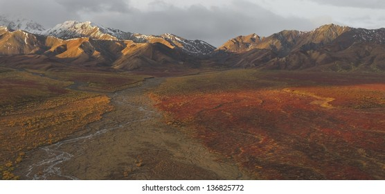 View of the Polychrome Hills from the Polychrome overlook on the Denali National Park Road, Alaska.