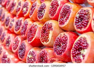View of pomegranates in Had veHalak Market on Ha Carmel Street, Tel Aviv, Israel, Middle East 1-3-2019