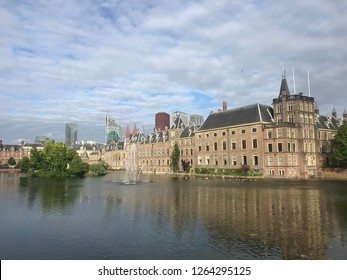 View of the pond and the Binnenhof palace complex in the center of The Hague