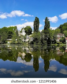 View from the pond of Pierrefonds, Picardie, France