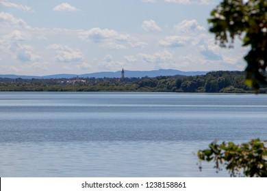 View of pond Rozmberk near Trebon, Czech Republic