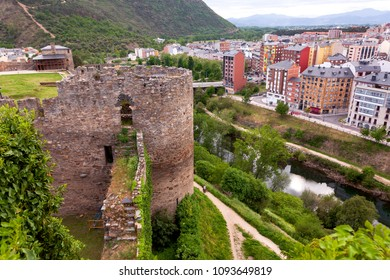 View of Ponferrada city from the templar castle