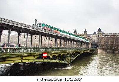 View of pont de Bir-Hakeim ,a bridge that crosses the Seine River. Paris France.