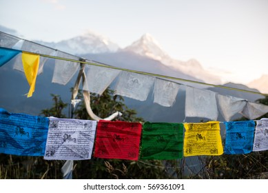 View from Poon Hill, Prayer flags and Annapurna mountain range  at Himalaya Nepal