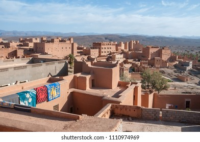 View of the population of Nkob in southern Morocco, from the roof of a building