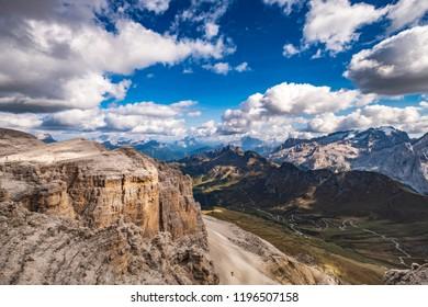 View from the Pordoi saddle in the Dolomite alps to the Marmolada glacier