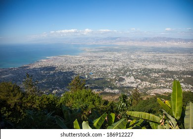 A view of Port au Prince from the top of a mountain.