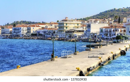 A view of the port of the beautiful Greek Island, Spetses and some of the local architecture.