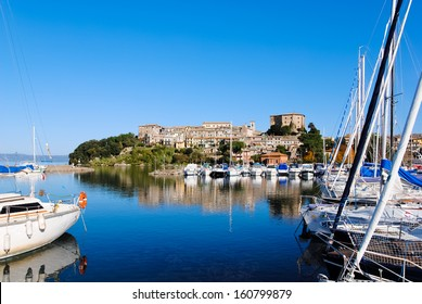 View from the port of Capodimonte on Lake Bolsena in Italy