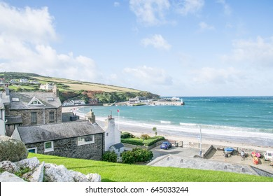 The view of Port Erin town in Southern Part of Isle of Man on a sunny day.