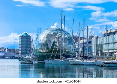 View of the port of genoa port (harbour) with yachts. Summer sunny day with blue sky. Genova, Liguria, Italy. Cityscape