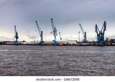 View of a port in Hamburg, Germany