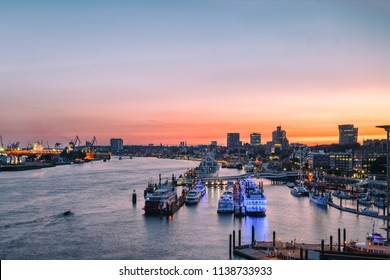 View of Port of Hamburg (Hamburger Hafen) with the Elbe river, Germany, Europe