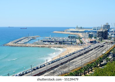 a view of the port and marina of Tarragona, in Spain