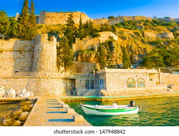 View of the port of Nafplio city in Greece