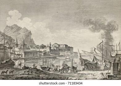 View of port of Palermo, Italy. By Chatelet and Paris, published on Voyage Pittoresque de Naples et de Sicilie,  J. C. R. de Saint Non, Imprimerie de Clousier, Paris, 1786