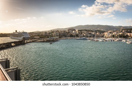 view of port of Palma de Majorca from the ship