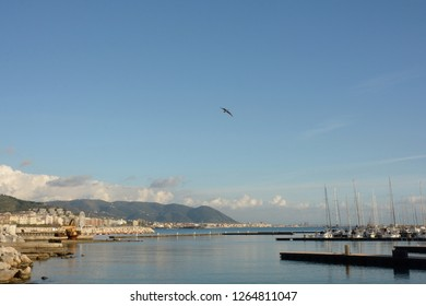 View of port, in Salerno, Italy, December 19, 2018.