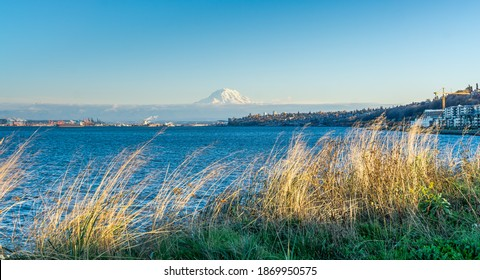 A view of the Port of Tacoma and Mount Rainier from Ruston, Washington.