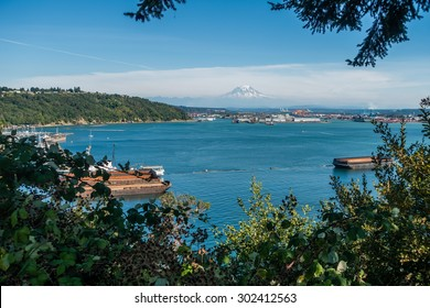 A view of the Port of Tacoma with Mount Rainier in the distance.