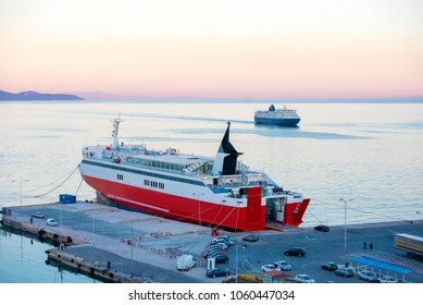 View of port terminal dock and car ferries in Rafina, Attiki, Greece.