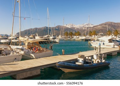 View of the port in Tivat city.  Montenegro, winter