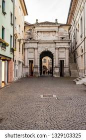 View of the Porta Dante in Belluno. 3 January 2019 Belluno, Veneto - Italy