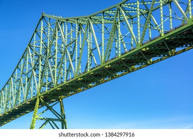 View of a portion of the Astoria Megler Bridge with a beautiful blue sky in Astoria, Oregon
