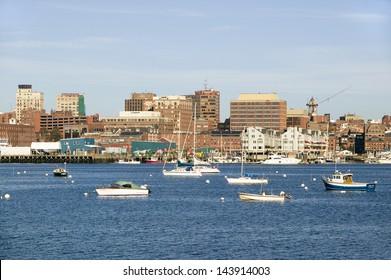 View of Portland Harbor boats with south Portland skyline, Portland, Maine