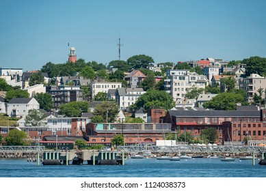 View of Portland Harbor with the skyline in Maine, USA