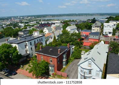 View of Portland Maine from the observatory on Munjoy Hill.