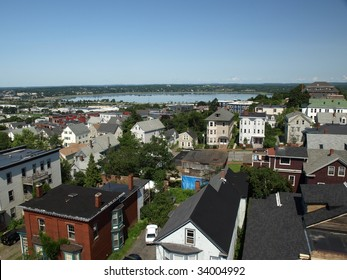 View of Portland Maine seen from the top of the Portland Observatory