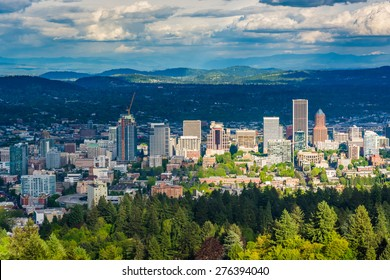 View of the Portland skyline from Pittock Acres Park, in Portland, Oregon.