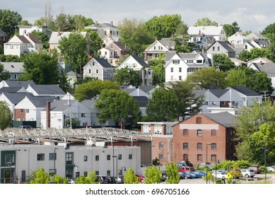 The view of Portland's residential area (Maine).