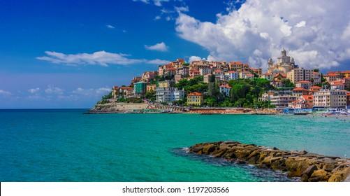 View of Porto Maurizio on the Italian Riviera in the province of Imperia, Liguria, Italy