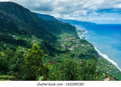 View of Porto Moniz Madeira Portugal. aerial Atlantic coastline