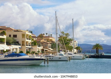 View of Porto Montenegro in Tivat city - full service yacht marina in the Adriatic. Montenegro,  Bay of Kotor