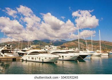 View of Porto Montenegro -   yacht marina in the Adriatic. Tivat city, Montenegro
