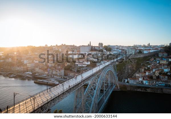 View of Porto Portugal Ponte Luis I Sunset