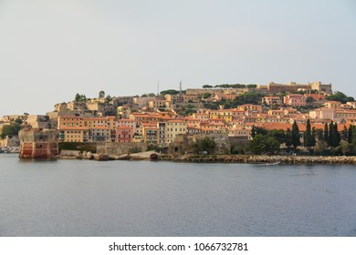 View of Portoferraio.View from the sea to the city.Island Elba ,Tuscany region, Italy.