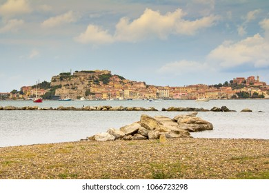 View of Portoferraio,with the Forte Stella and the Napoleon Villa .View from the sea to the city.Island Elba ,Tuscany region, Italy.