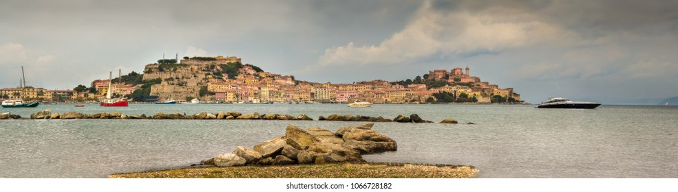 View of Portoferraio,with the Forte Stella and the Napoleon Villa .Old town and harbor. Panoramic photo. Island Elba ,Tuscany region, Italy.