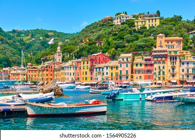 View of Portofino town and port with boats, Italy