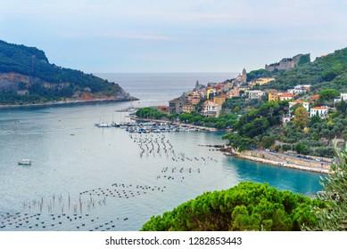 View of Portovenere or Porto Venere town on Ligurian coast. Province of La Spezia. Italy