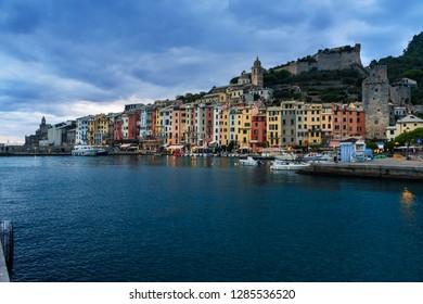 View of Portovenere or Porto Venere town on Ligurian coast at night. Province of La Spezia. Italy