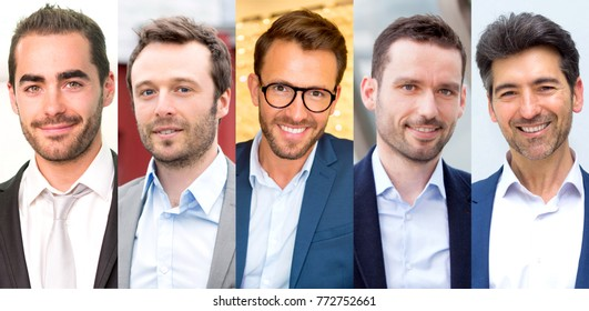View of Portrait collection of different businessman on high definition