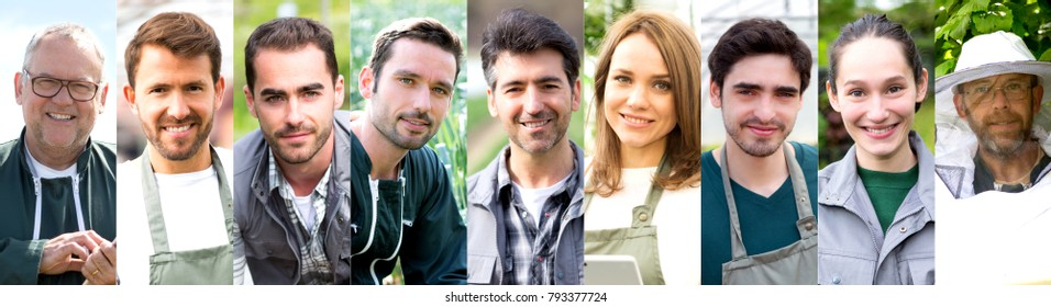 View of Portrait collection of different people working on nature on high definition