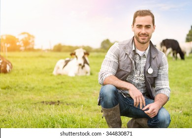 View of a Portrait of a Young attractive veterinary in a pasture with cows