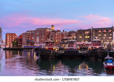 View of Portsmouth waterfront at dusk. New Hampshire, USA.