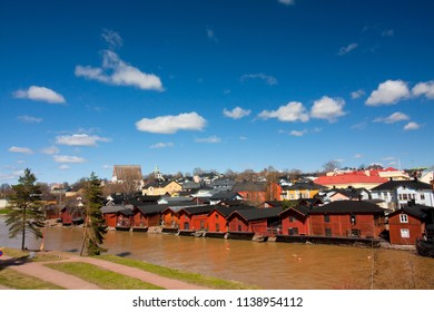 View of Porvoo old town with red wooden sheds, Finland. 5 MAY 2018 - Porvoo, Finland